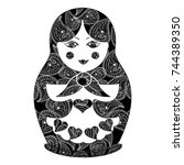 vector matryoshka with vintage... | Shutterstock .eps vector #744389350