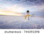 Funny Snowman In Black Hat And...