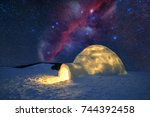 fantastic winter landscape... | Shutterstock . vector #744392458