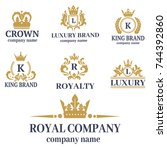 crown king vintage premium... | Shutterstock .eps vector #744392860