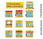 small business buildings...   Shutterstock .eps vector #744393433