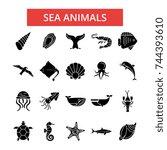 sea animals illustration  thin... | Shutterstock .eps vector #744393610