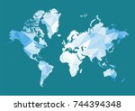world map in polygon style.... | Shutterstock .eps vector #744394348