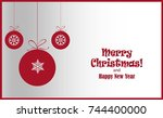 christmas ornament balls with... | Shutterstock .eps vector #744400000