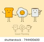 best friends. breakfast. good...   Shutterstock .eps vector #744400600