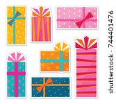vector collection of bright and ... | Shutterstock .eps vector #744401476
