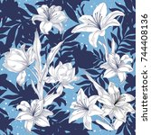 floral seamless pattern. vector ... | Shutterstock .eps vector #744408136