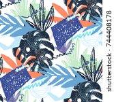 creative hand drawn textures.... | Shutterstock .eps vector #744408178