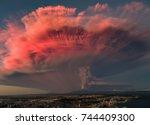 volcano eruption. the eruption... | Shutterstock . vector #744409300