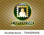 gold shiny emblem with picture ... | Shutterstock .eps vector #744409696