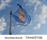 the flag of oklahoma state... | Shutterstock . vector #744409708