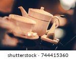 five oclock tea time. tea pot... | Shutterstock . vector #744415360