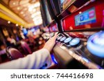 casino slot video games. woman... | Shutterstock . vector #744416698