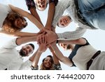 business team with hands... | Shutterstock . vector #744420070