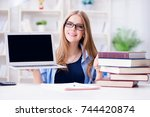 young teenage female student... | Shutterstock . vector #744420874