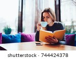smart young woman in trendy... | Shutterstock . vector #744424378
