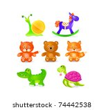 toys icon set  isolated on... | Shutterstock .eps vector #74442538