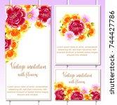 vintage delicate invitation... | Shutterstock .eps vector #744427786