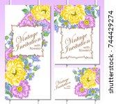 vintage delicate invitation...   Shutterstock . vector #744429274