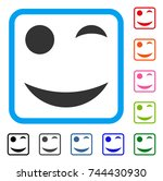wink smile icon. flat gray...   Shutterstock .eps vector #744430930