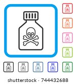 toxic vial icon. flat gray... | Shutterstock .eps vector #744432688