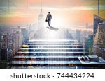 businessman climbing up... | Shutterstock . vector #744434224