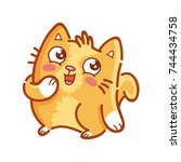 cute ginger cat  adorable ... | Shutterstock .eps vector #744434758