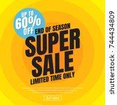 new year sale background vector ... | Shutterstock .eps vector #744434809