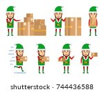 set of christmas elf characters ... | Shutterstock .eps vector #744436588