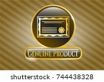 shiny emblem with certificate... | Shutterstock .eps vector #744438328