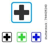 medical cross icon. flat gray... | Shutterstock .eps vector #744439240