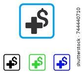 add dollar icon. flat gray... | Shutterstock .eps vector #744440710