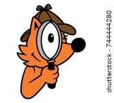 cartoon dog or fox detective   Shutterstock .eps vector #744444280