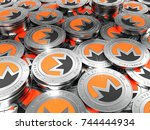 crypto currency. the coin with... | Shutterstock . vector #744444934