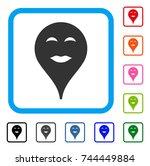 lady pleasure smiley map marker ... | Shutterstock .eps vector #744449884