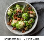 brussels sprouts and bacon | Shutterstock . vector #744450286