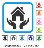 house care hands icon. flat... | Shutterstock .eps vector #744450454