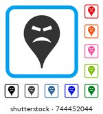 furious smiley map marker icon. ... | Shutterstock .eps vector #744452044