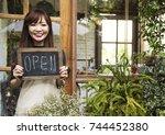 flower shop store florist... | Shutterstock . vector #744452380