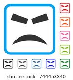 furious smile icon. flat gray... | Shutterstock .eps vector #744453340