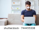 young man recovering healing at ... | Shutterstock . vector #744455338
