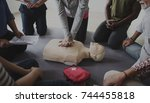 cpr first aid training concept | Shutterstock . vector #744455818