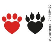 dog's paw in the shape of a... | Shutterstock . vector #744459430