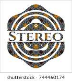 stereo arabesque style emblem....   Shutterstock .eps vector #744460174