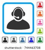 call center operator icon. flat ...   Shutterstock .eps vector #744463708