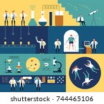 researchers in the science lab... | Shutterstock .eps vector #744465106