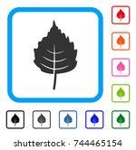 birch leaf icon. flat gray...