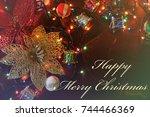 christmas pattern  golden... | Shutterstock . vector #744466369