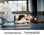 young fit woman with perfect... | Shutterstock . vector #744466858