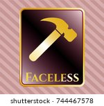 shiny emblem with hammer icon... | Shutterstock .eps vector #744467578